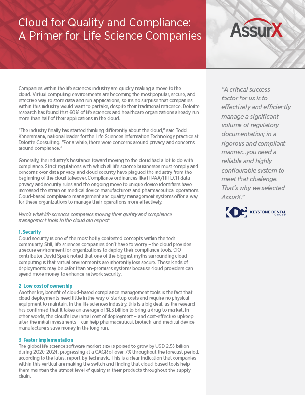 AssurX Cloud for Quality and Compliance: A Primer for Life Science Companies On-Trend Report