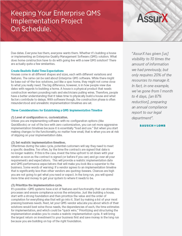 Keeping Your Enterprise QMS Implementation Project On Schedule.