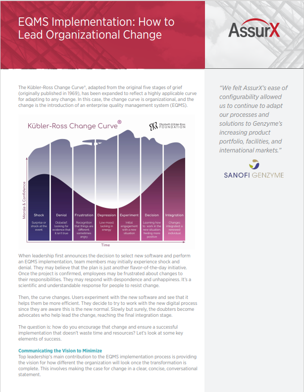 EQMS Implementation: How to Lead Organizational Change Fact Sheet
